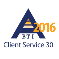 Thompson Hine ranked about top 15 US law firms for excellent client service in 2016 BTI Client Service 30
